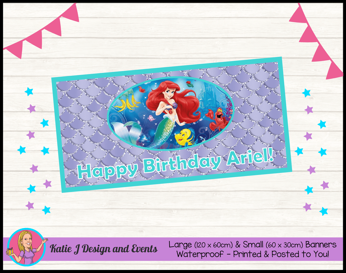 Personalised The Little Mermaid Birthday Party Banner