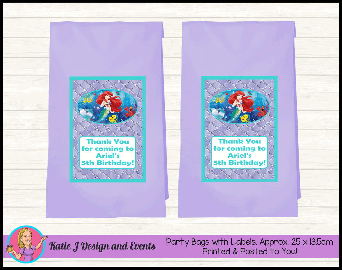 Personalised The Little Mermaid Birthday Party Loot Bags