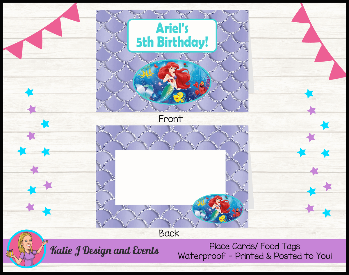 Personalised The Little Mermaid Party Place Cards