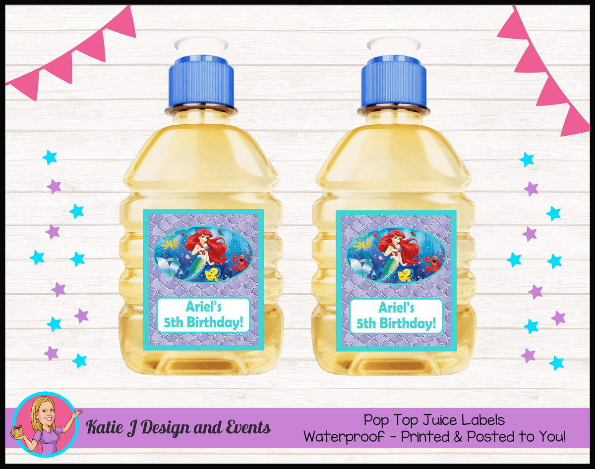 Personalised The Little Mermaid Pop Top Juice Labels