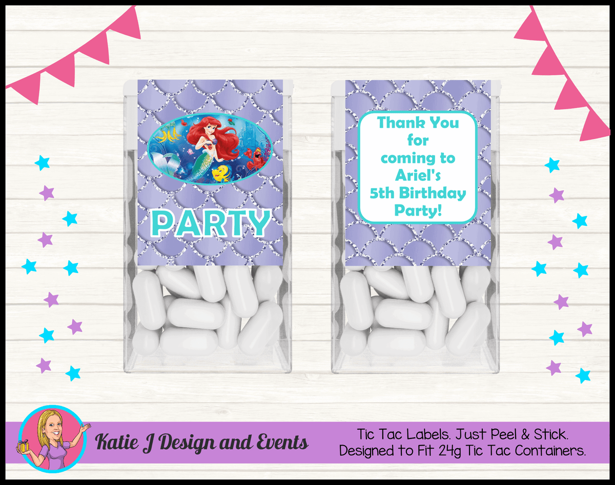 Personalised The Little Mermaid Tic Tac Labels