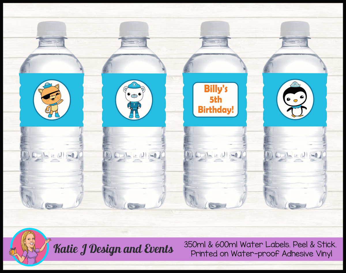 Personalised The Octonauts Birthday Water Labels