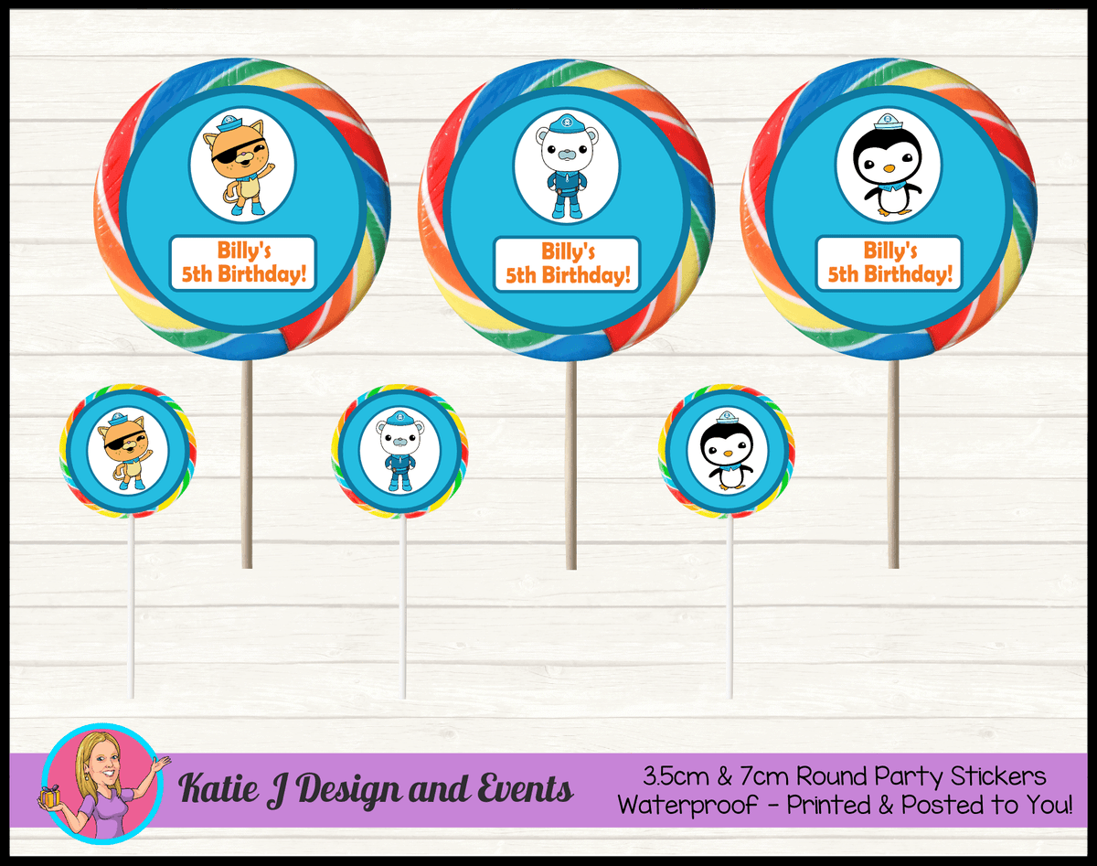 Personalised The Octonauts Round Lollipop Stickers
