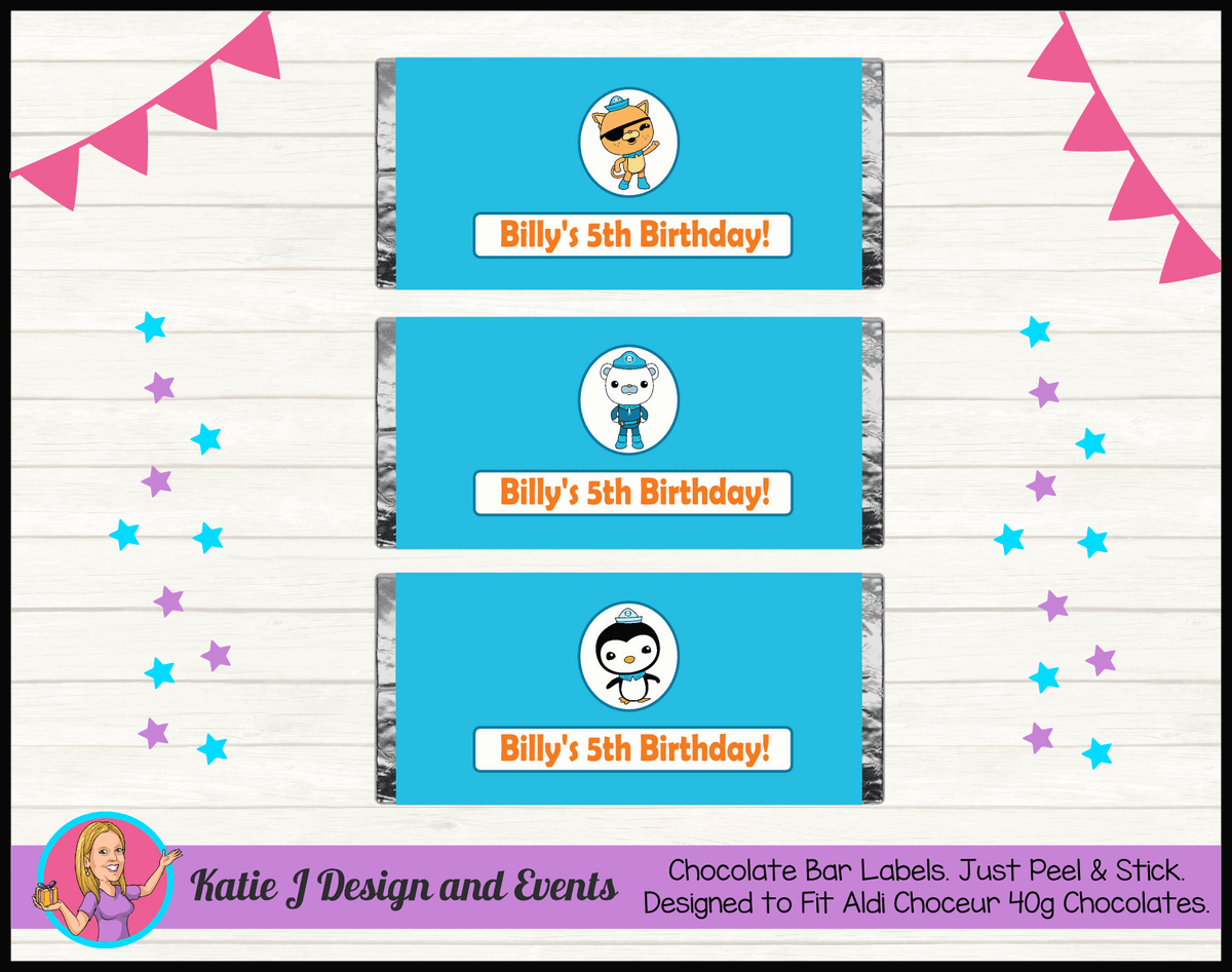 Personalised The Octonauts Birthday Chocolate Labels Wrappers