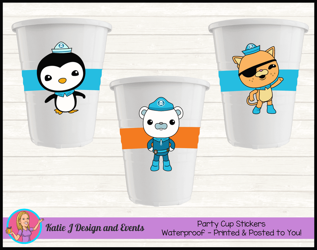 Personalised The Octonauts Party Cups Cup Stickers