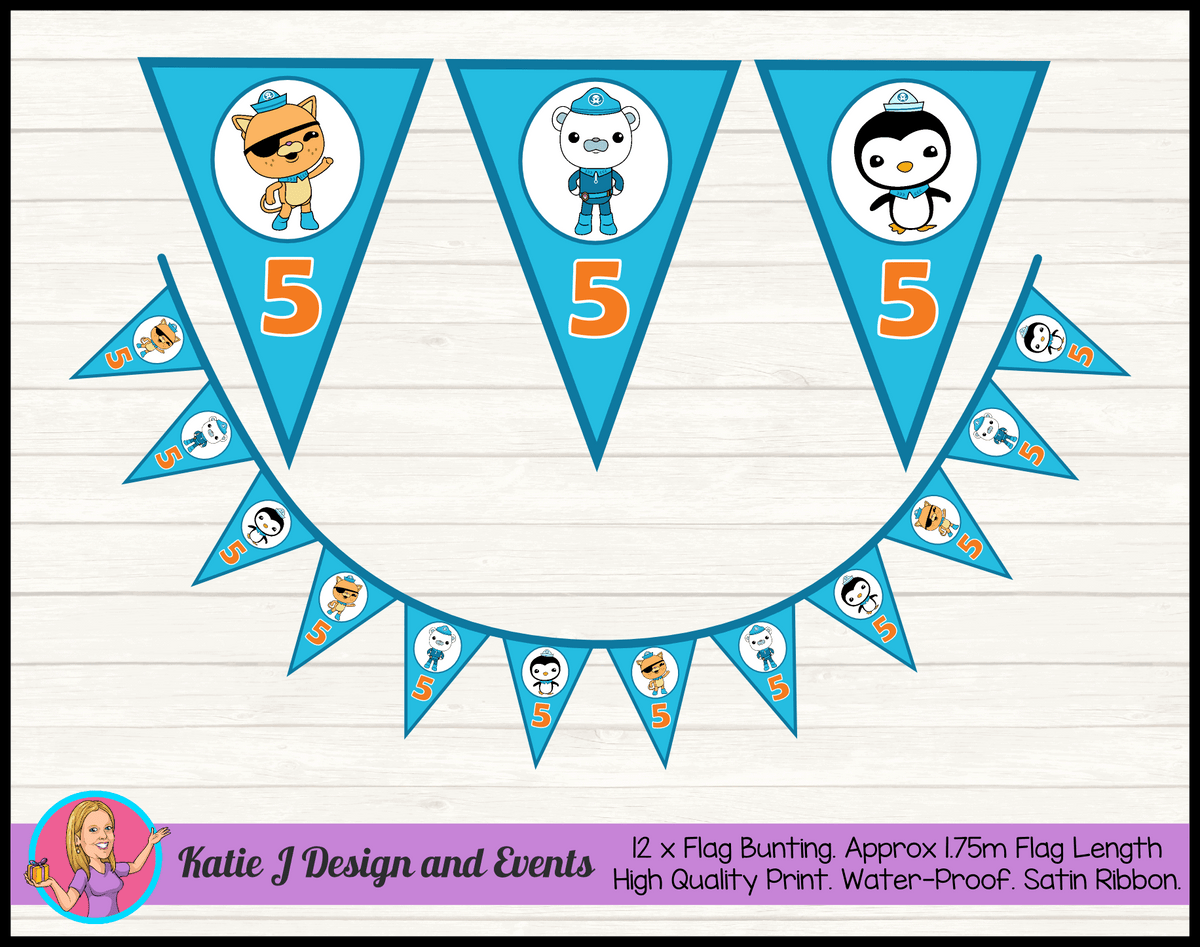 Personalised The Octonauts Birthday Party Flag Bunting
