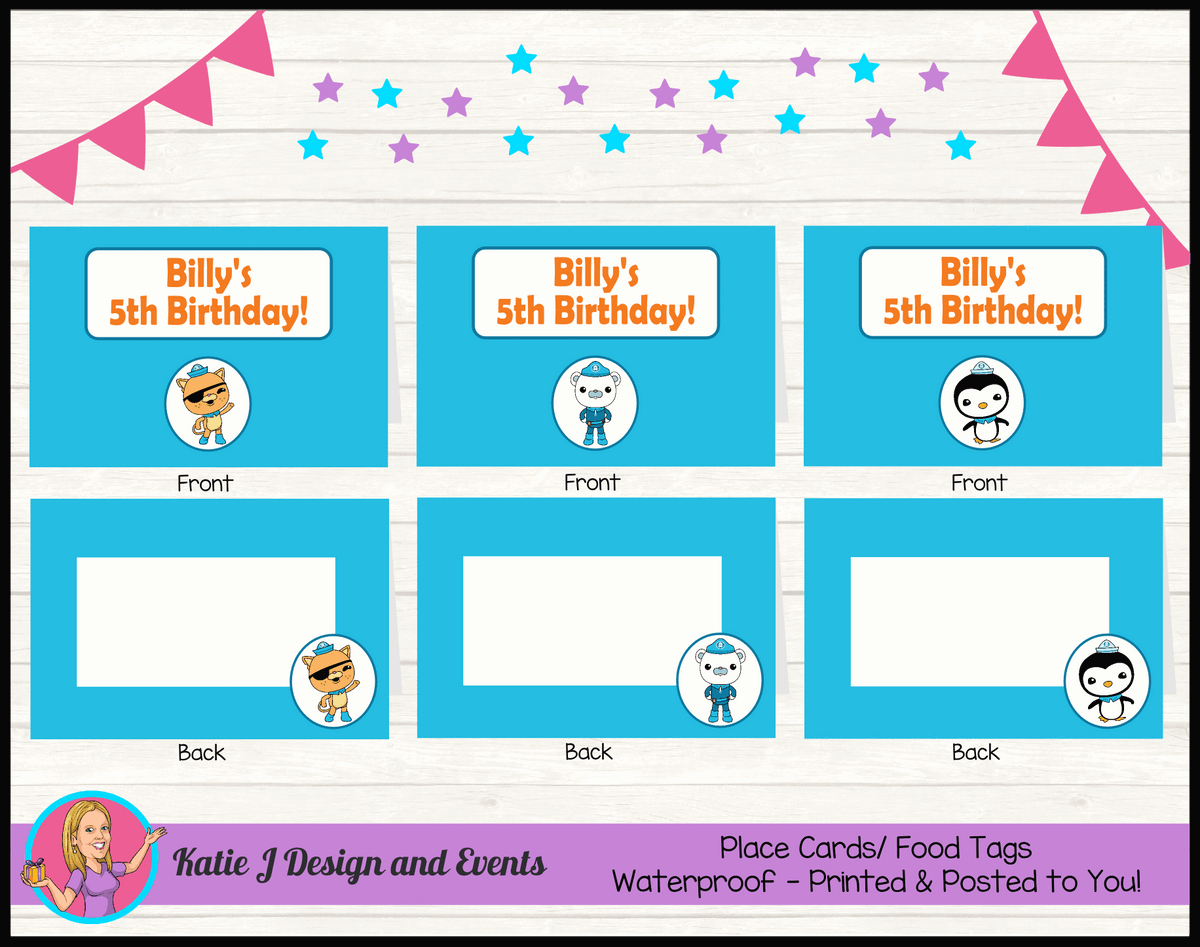 Personalised The Octonauts Party Place Cards