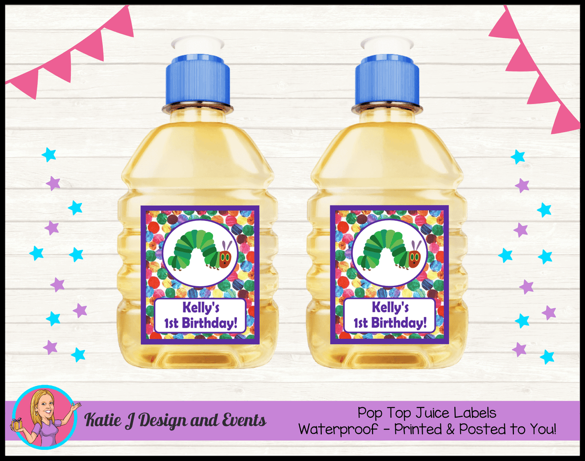 Personalised Girls Very Hungry Caterpillar Pop Top Juice Labels