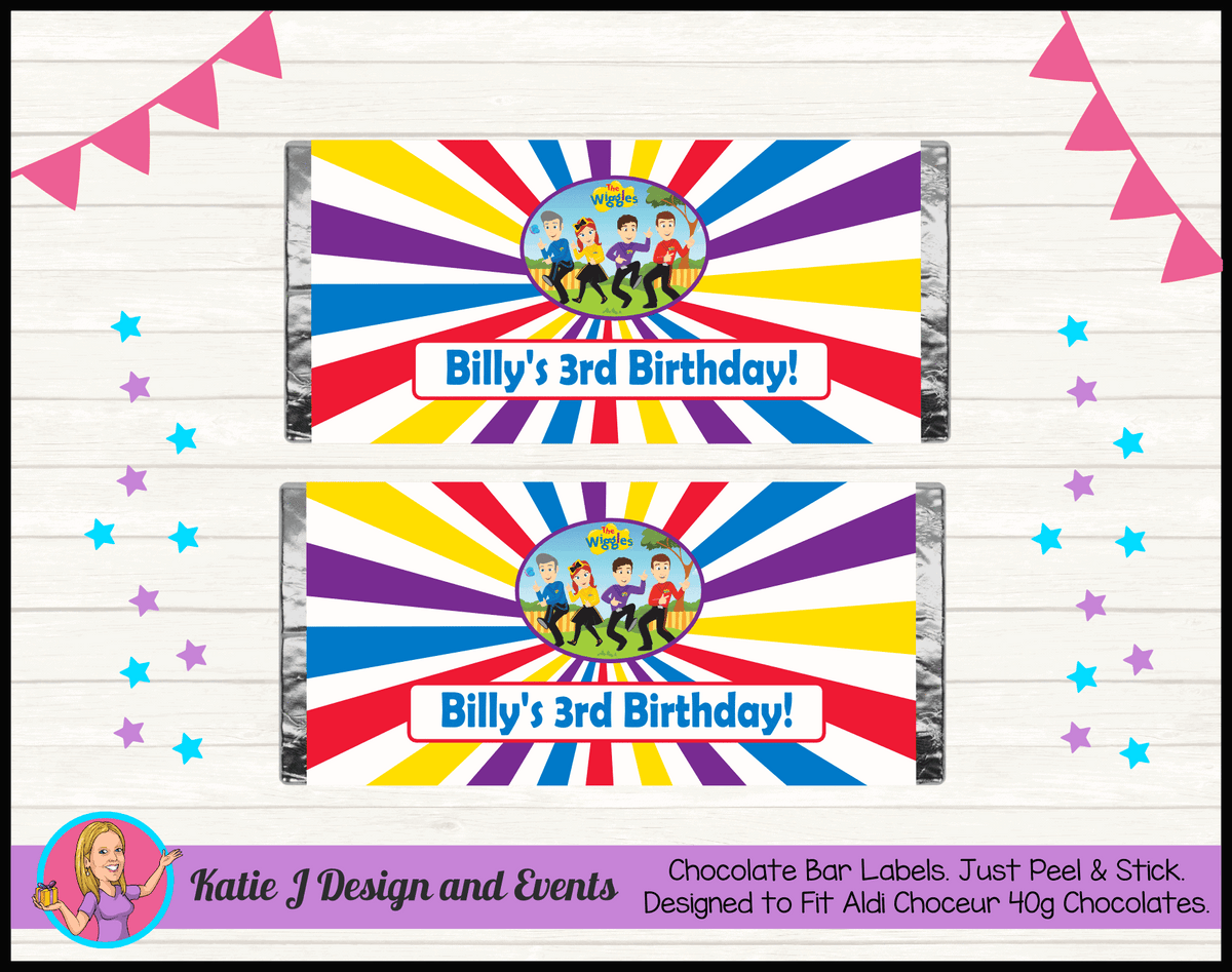Personalised Wiggles Cartoon Birthday Chocolate Labels Wrappers