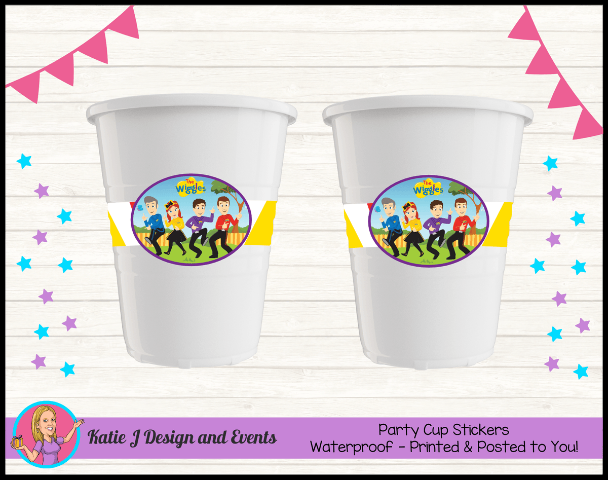 Personalised Wiggles Cartoon Party Cups Cup Stickers