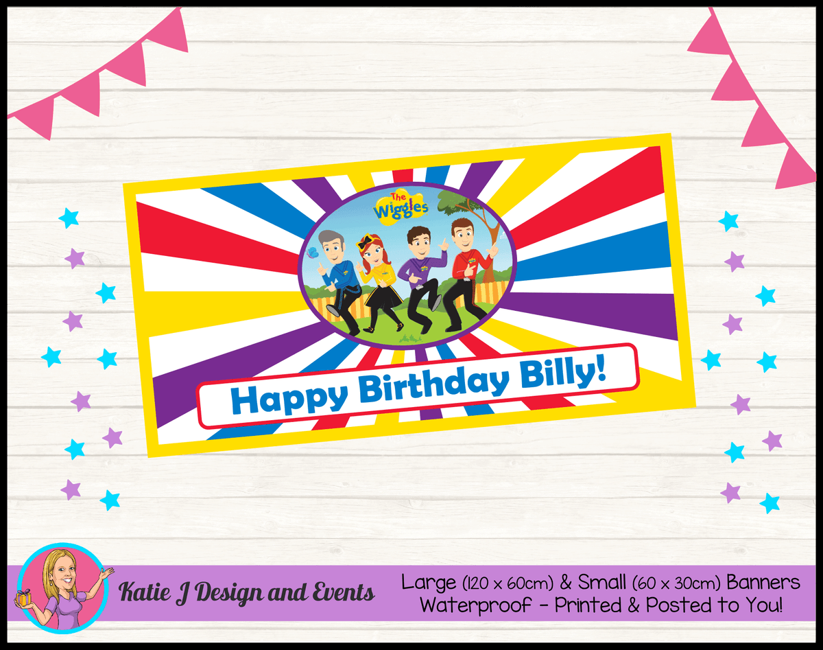 Personalised Wiggles Cartoon Birthday Party Banner