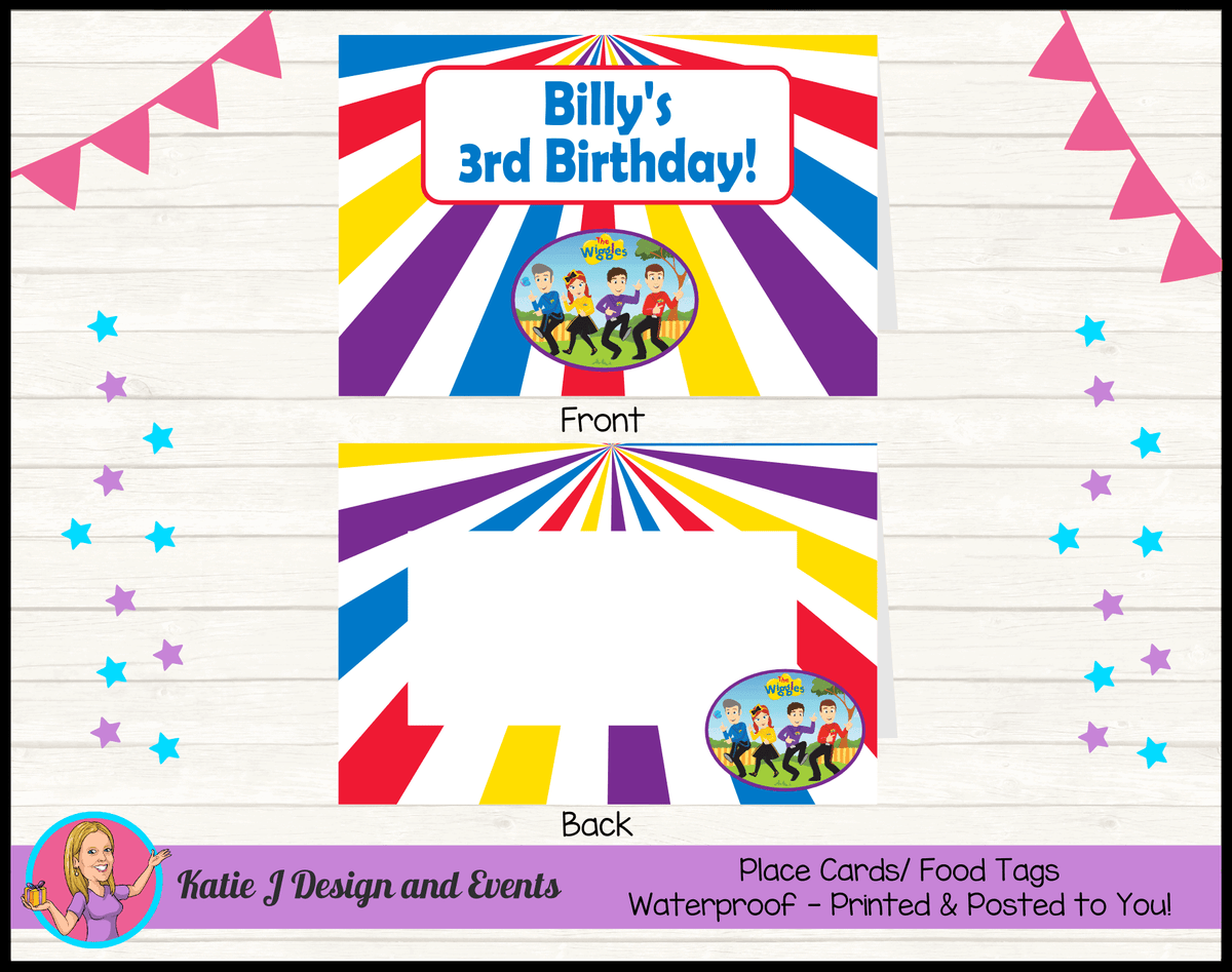 Personalised Wiggles Cartoon Party Place Cards