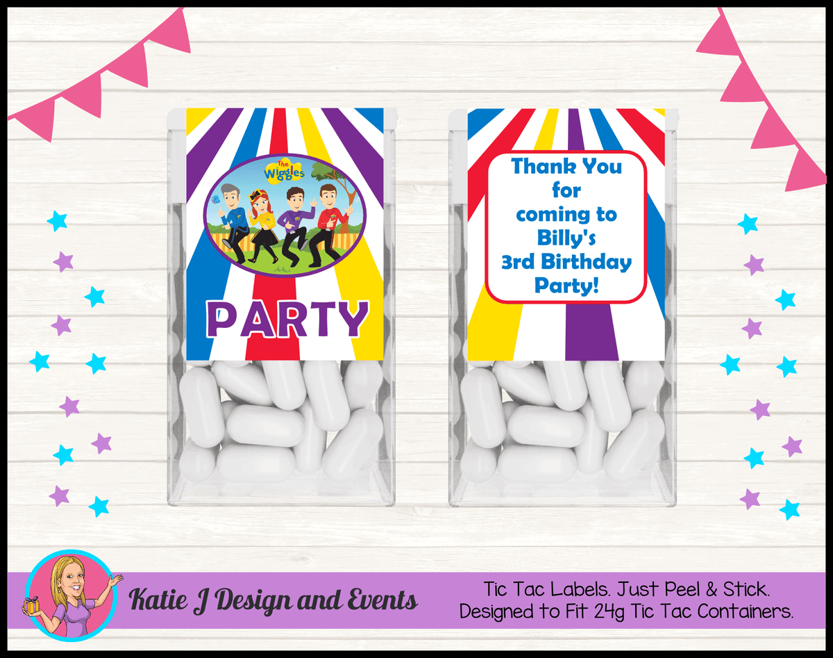 Personalised Wiggles Cartoon Tic Tac Labels