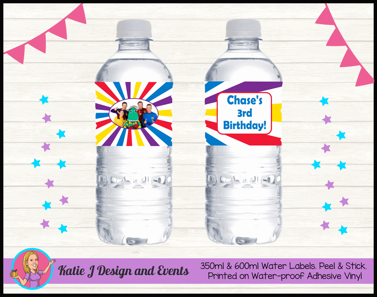 The Wiggles Personalised Birthday Party Water Bottle Labels