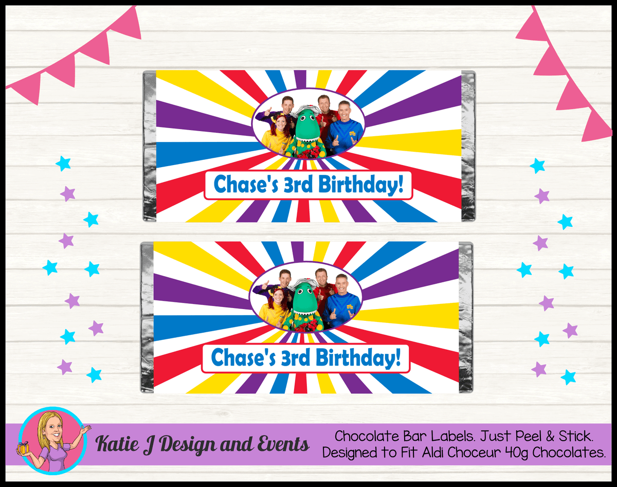 The Wiggles Personalised Birthday Party Aldi Mini Chocolate Labels Wrappers