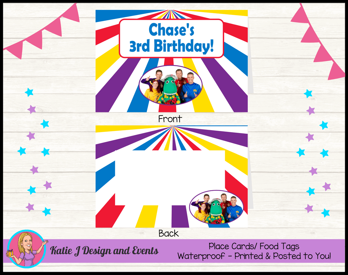 The Wiggles Personalised Birthday Party Place Cards