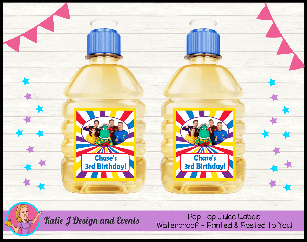 The Wiggles Personalised Birthday Party Pop Top Juice Labels