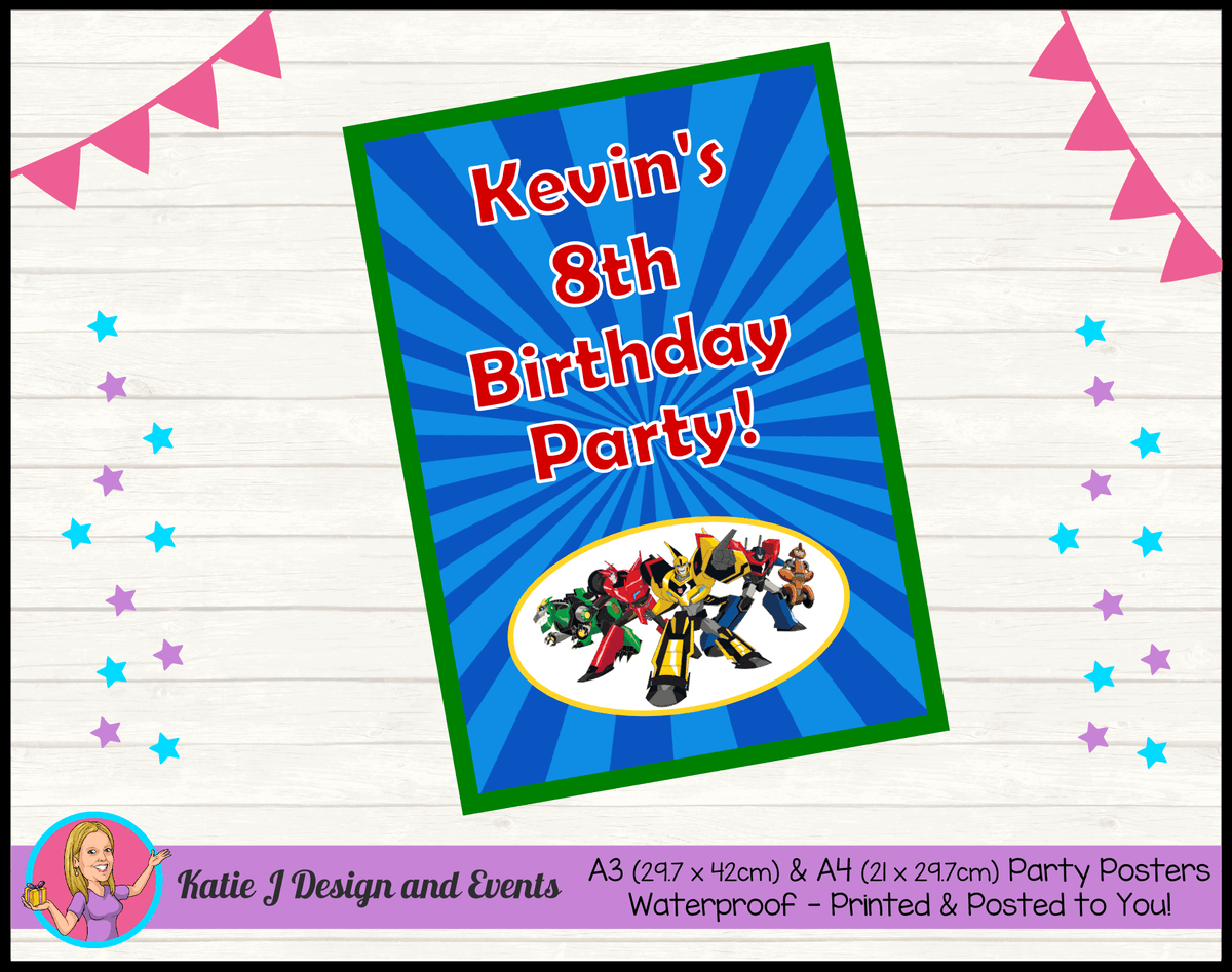 Personalised Transformers Birthday Party Poster