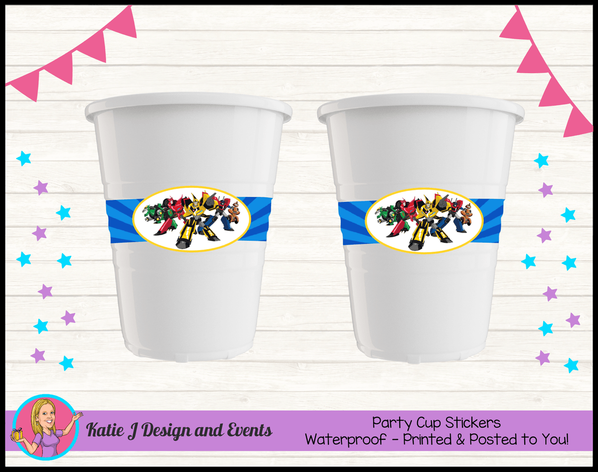 Personalised Transformers Party Cups Cup Stickers