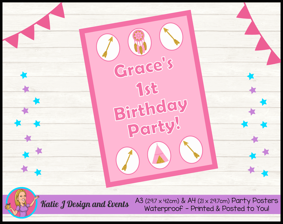 Personalised Boho Tirbal Birthday Party Poster