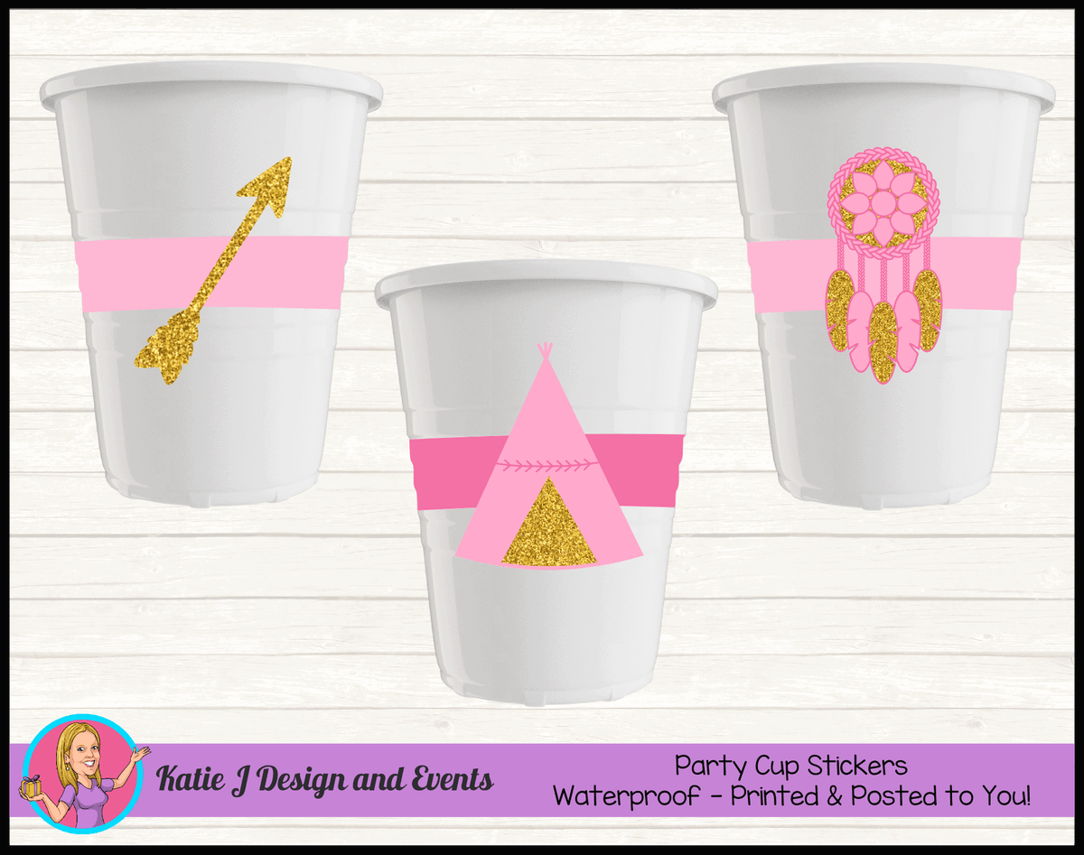 Personalised Boho Tirbal Party Cups Cup Stickers