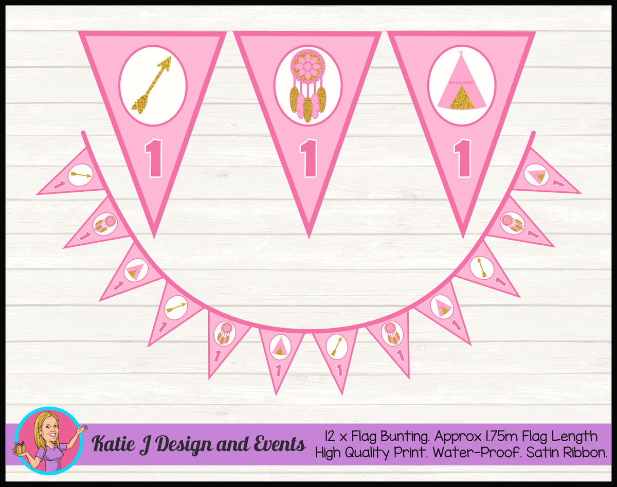 Personalised Boho Tirbal Birthday Party Flag Bunting