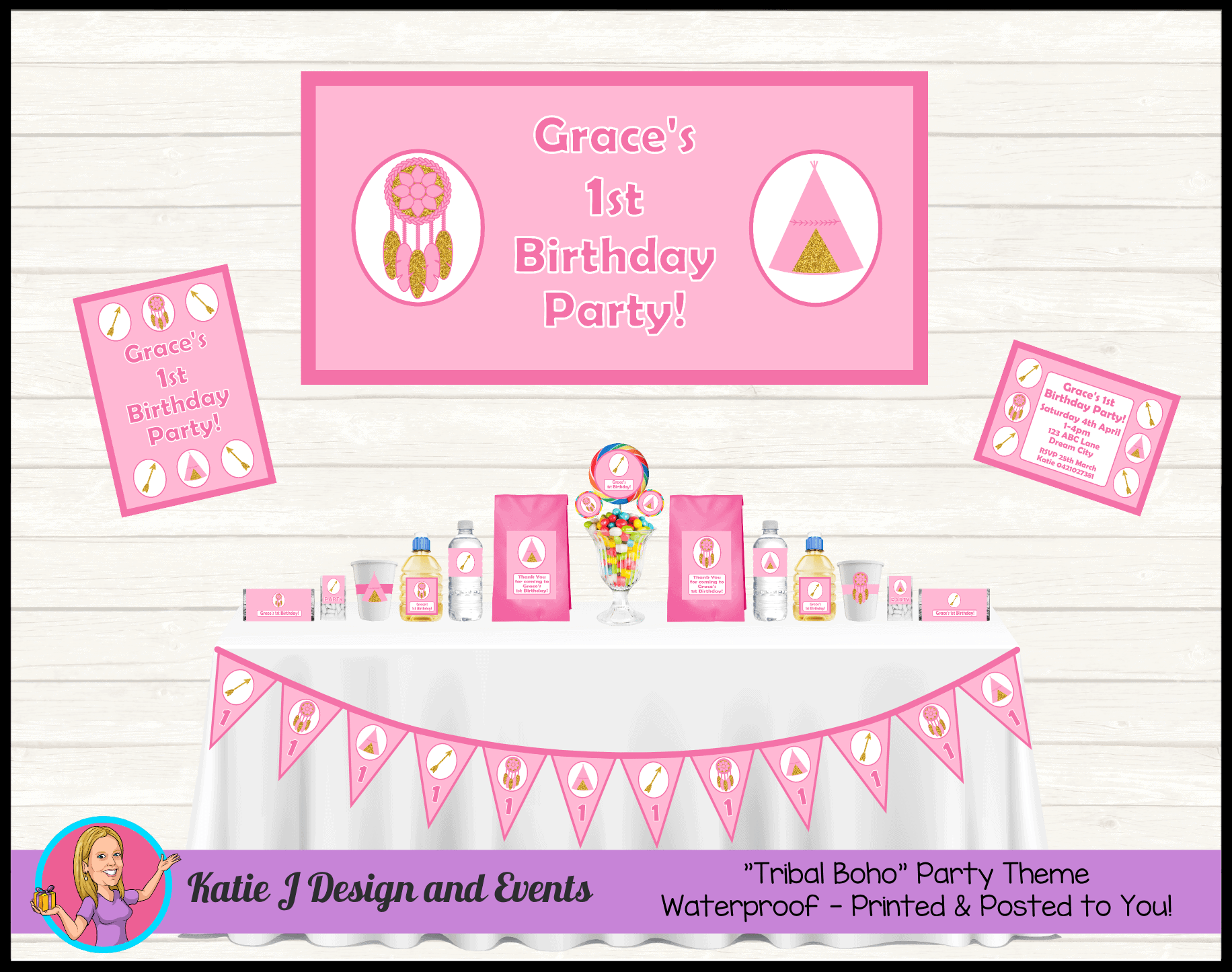 Personalised Boho Tribal Party Packs Decorations Supplies