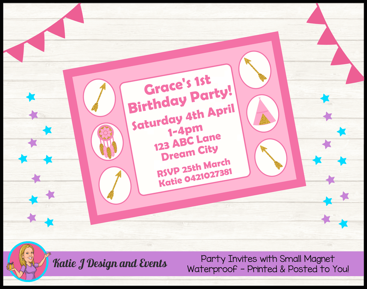 Personalised Boho Tirbal Birthday Party Invites