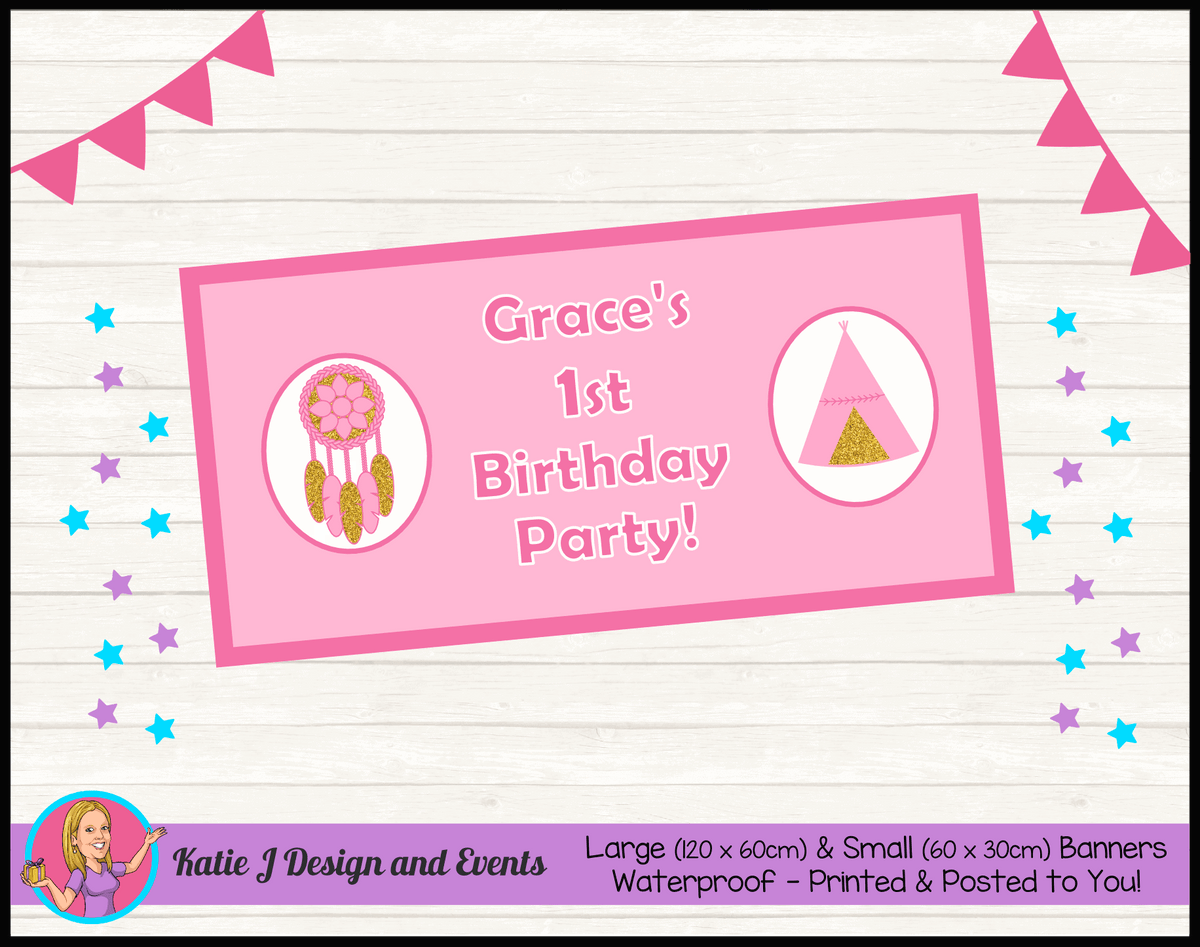 Personalised Boho Tirbal Birthday Party Banner