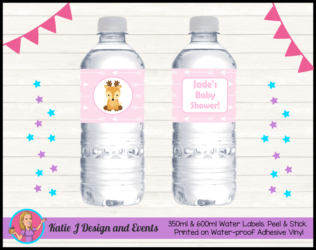 Personalised Deer Baby Shower Water Bottle Labels