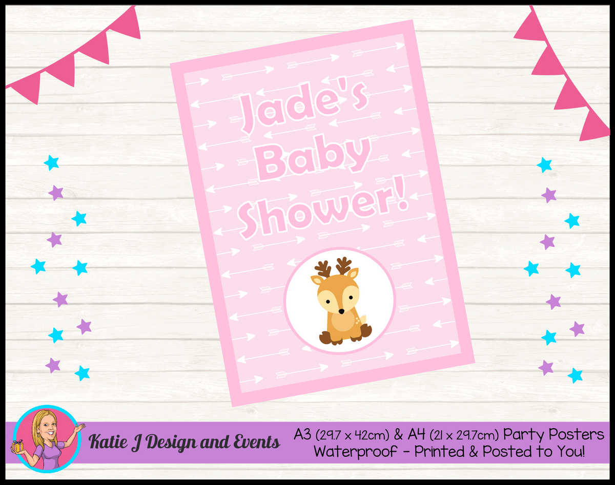Personalised Deer Baby Shower Poster