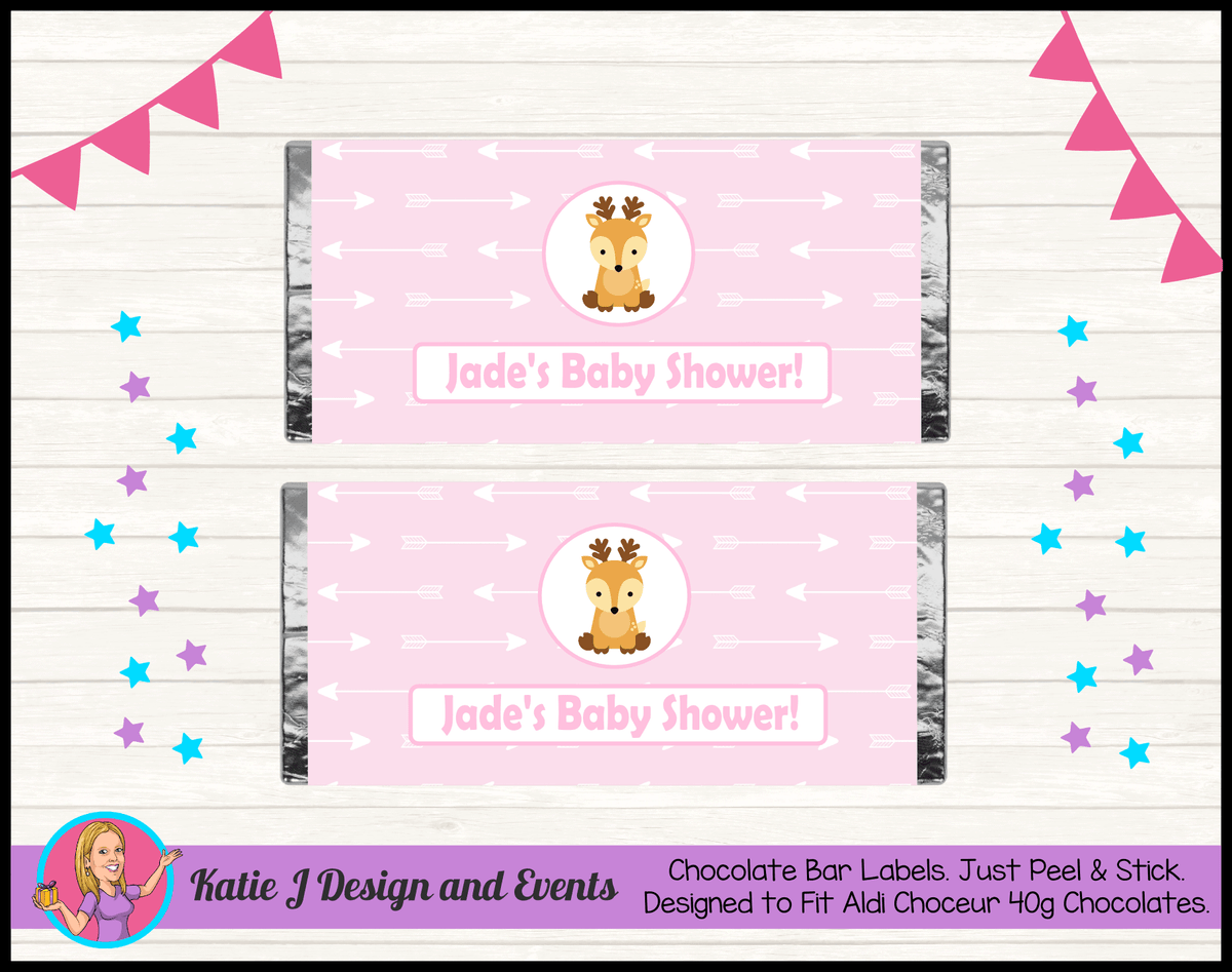Personalised Deer Baby Shower Chocolate Labels Wrappers
