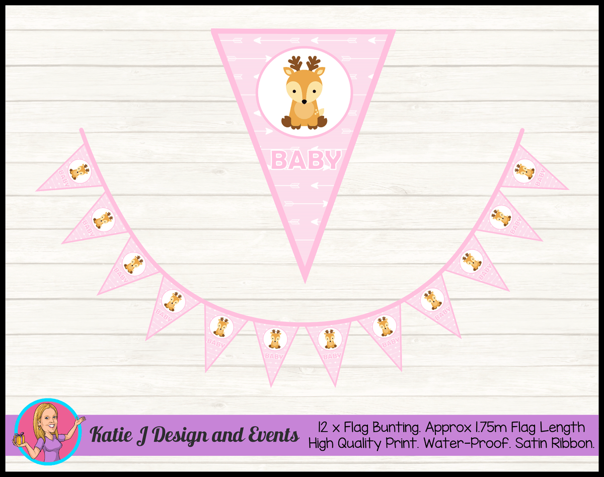 Personalised Deer Baby Shower Flag Bunting