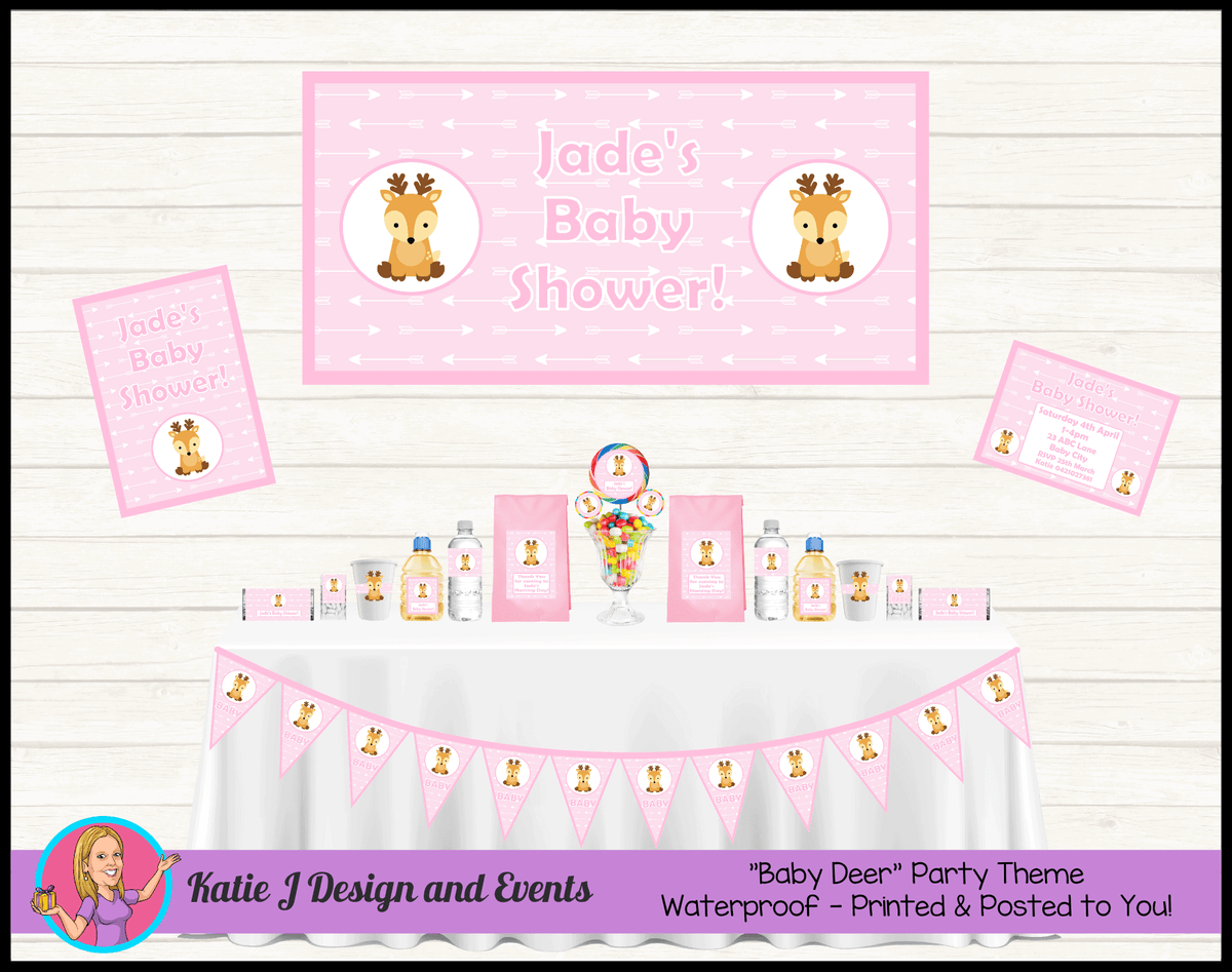 Personalised Pink Deer Baby Shower Party Packs Decorations Supplies