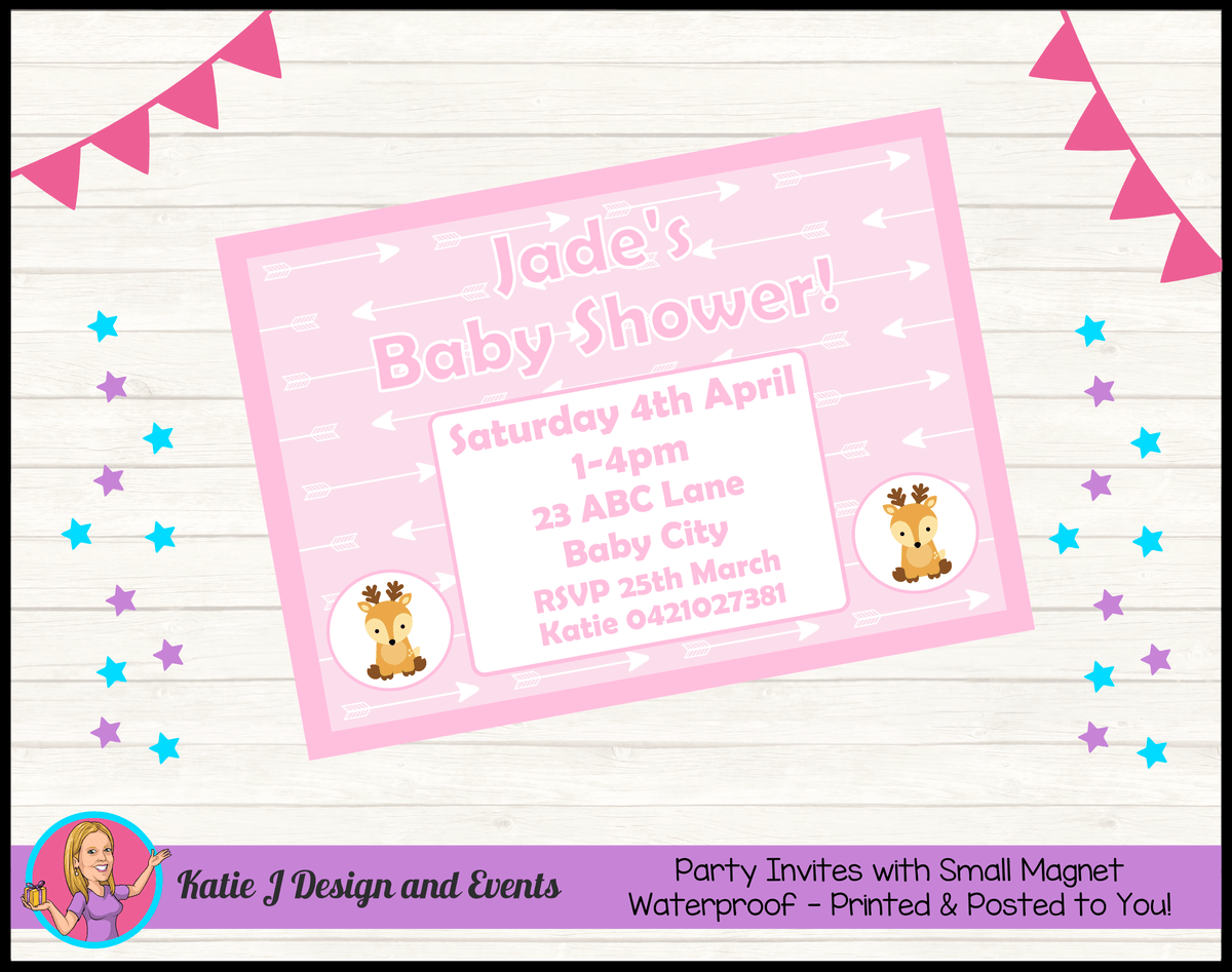 Personalised Deer Baby Shower Invites Invitations
