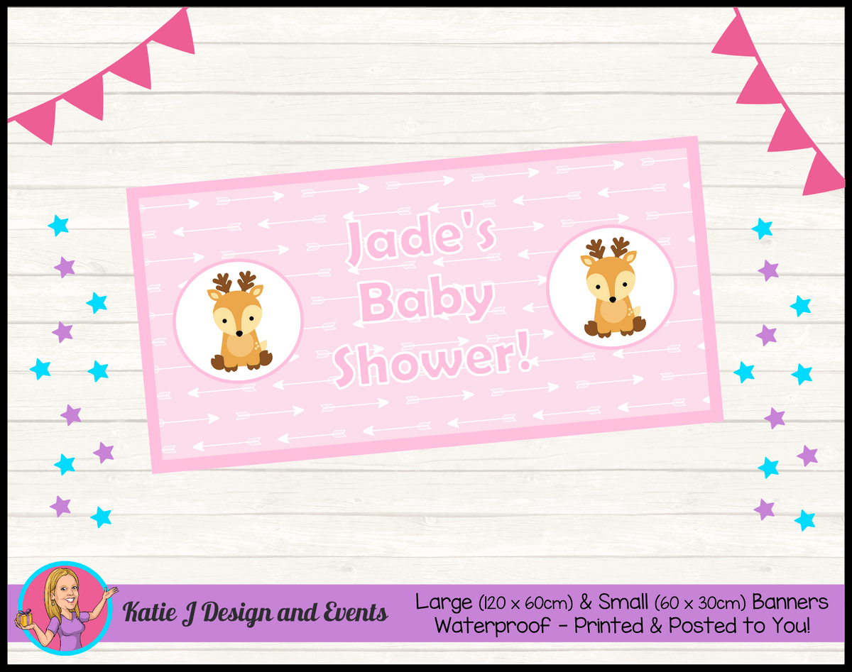 Personalised Deer Baby Shower Banner