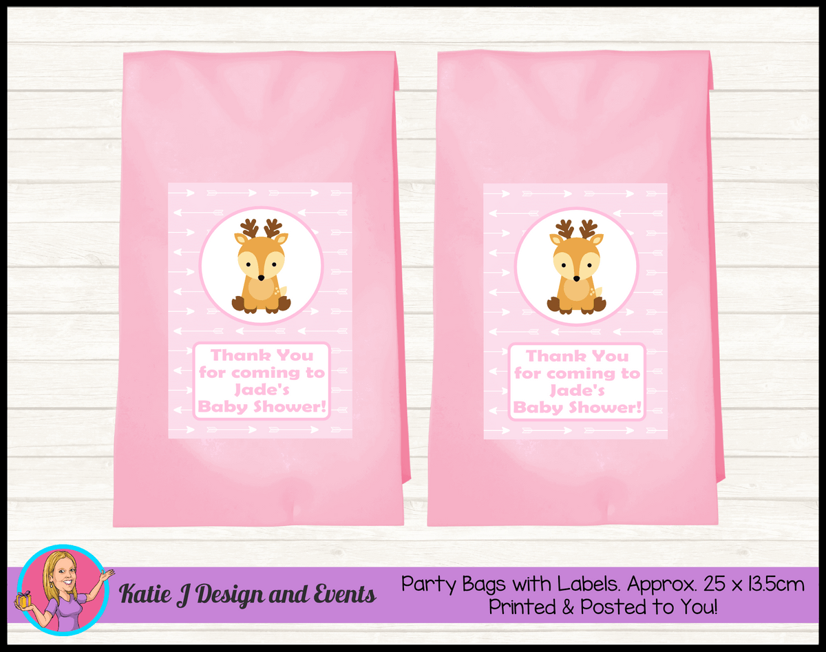 Personalised Deer Baby Shower Party Loot Bags