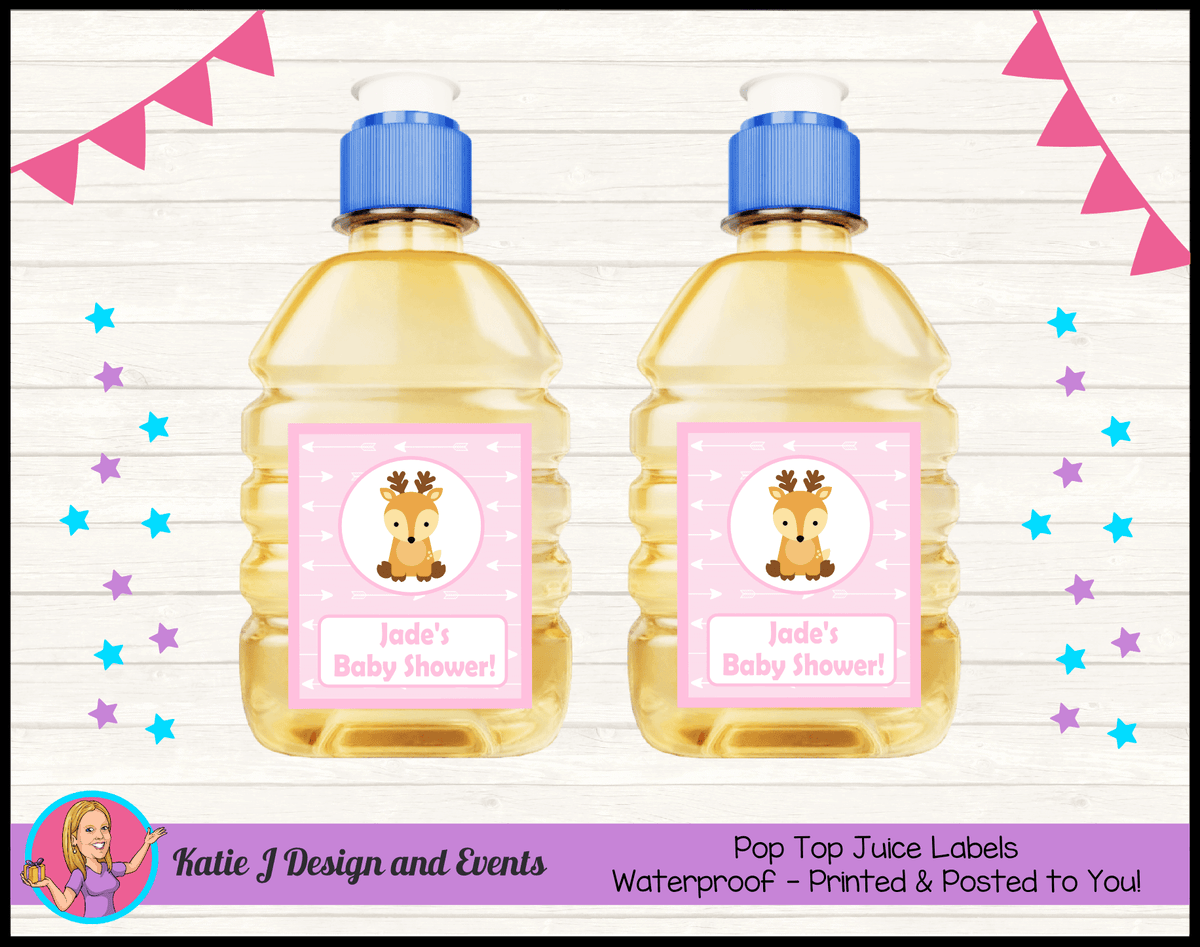 Personalised Deer Baby Shower Pop Top Juice Labels