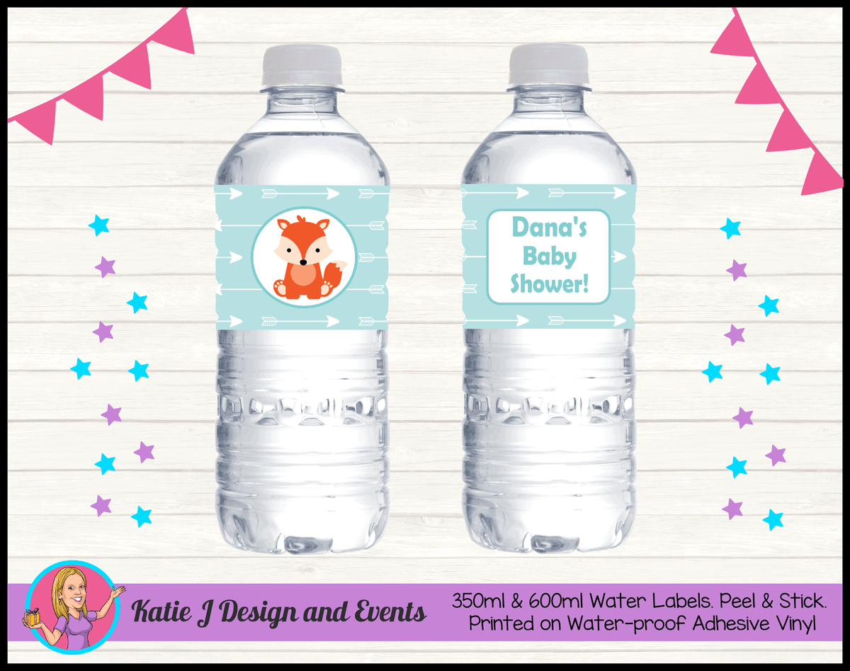 Personalised Tribal Fox Baby Shower Water Bottle Labels