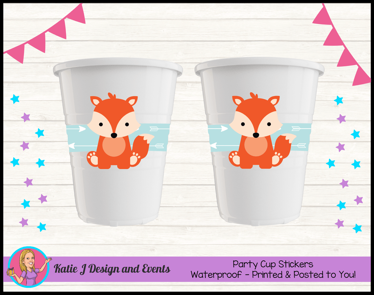 Personalised Tribal Fox Baby Shower Cup Stickers Cups