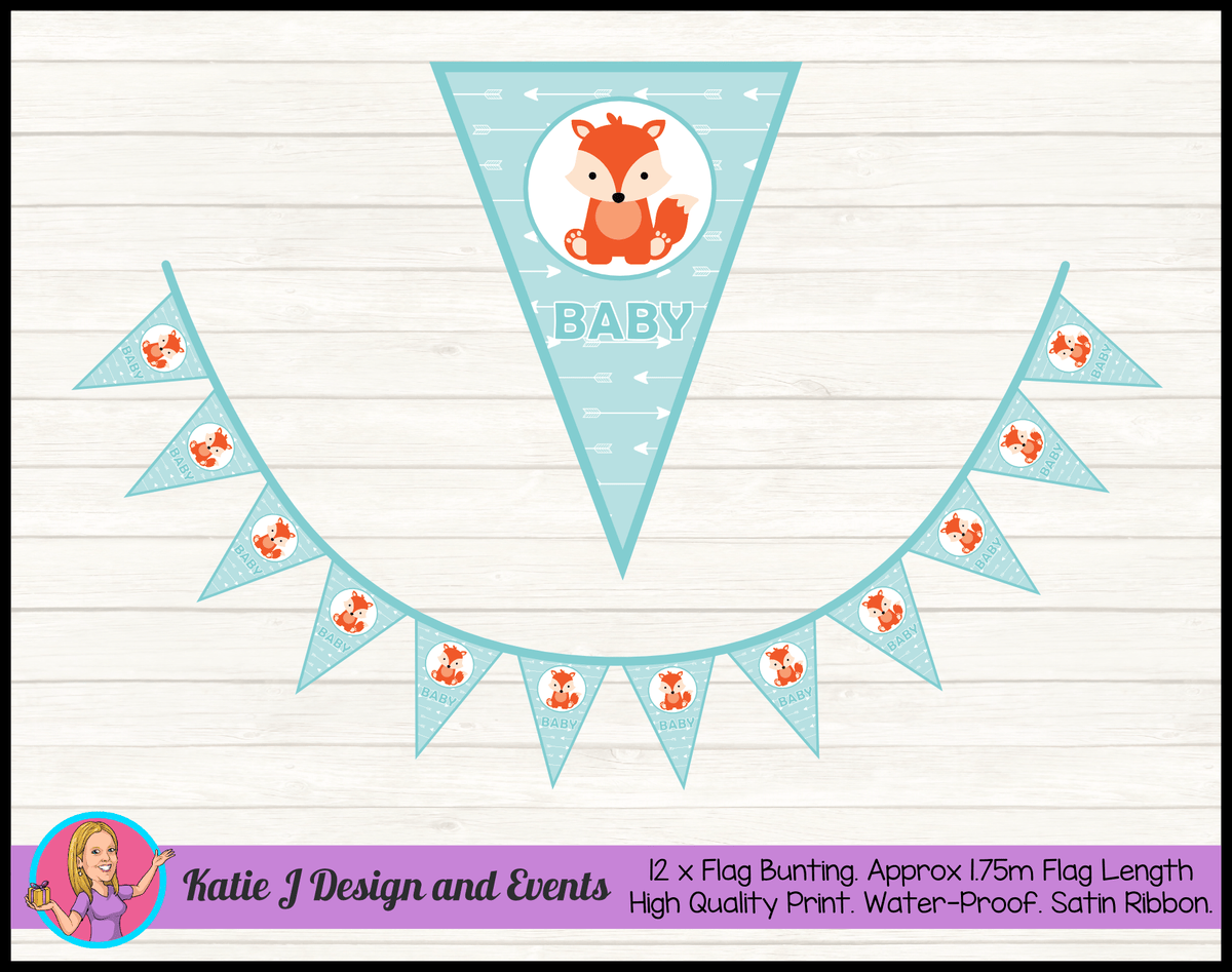 Personalised Tribal Fox Baby Shower Flag Bunting