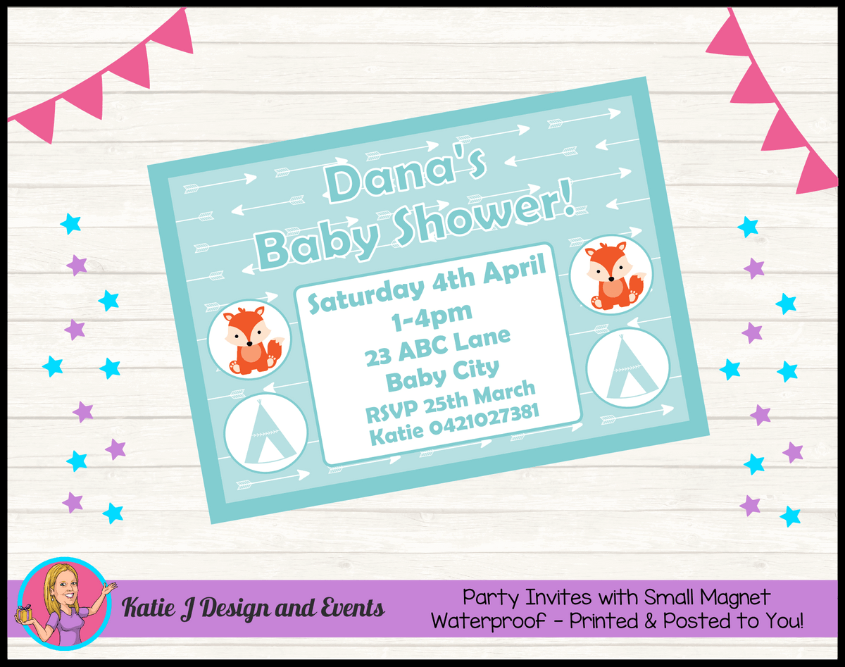 Personalised Tribal Fox Baby Shower Invites Invitations