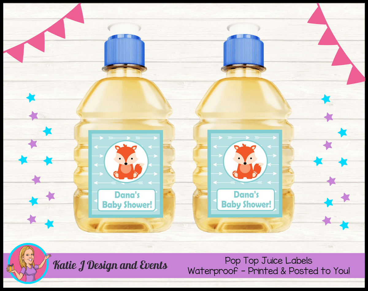 Personalised Tribal Fox Baby Shower Pop Top Juice Labels