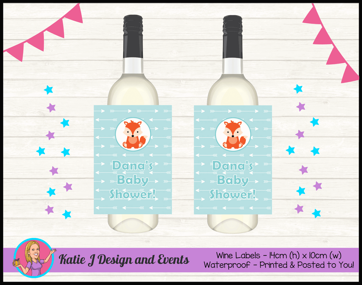 Personalised Tribal Fox Baby Shower Wine Bottle Labels