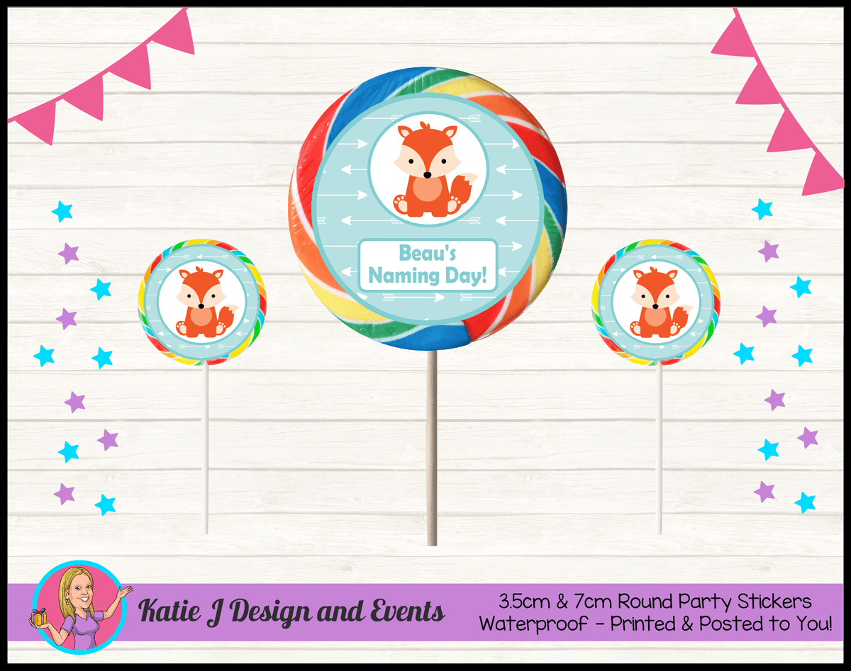 Personalised Tribal Fox Naming Day Round Lollipop Stickers