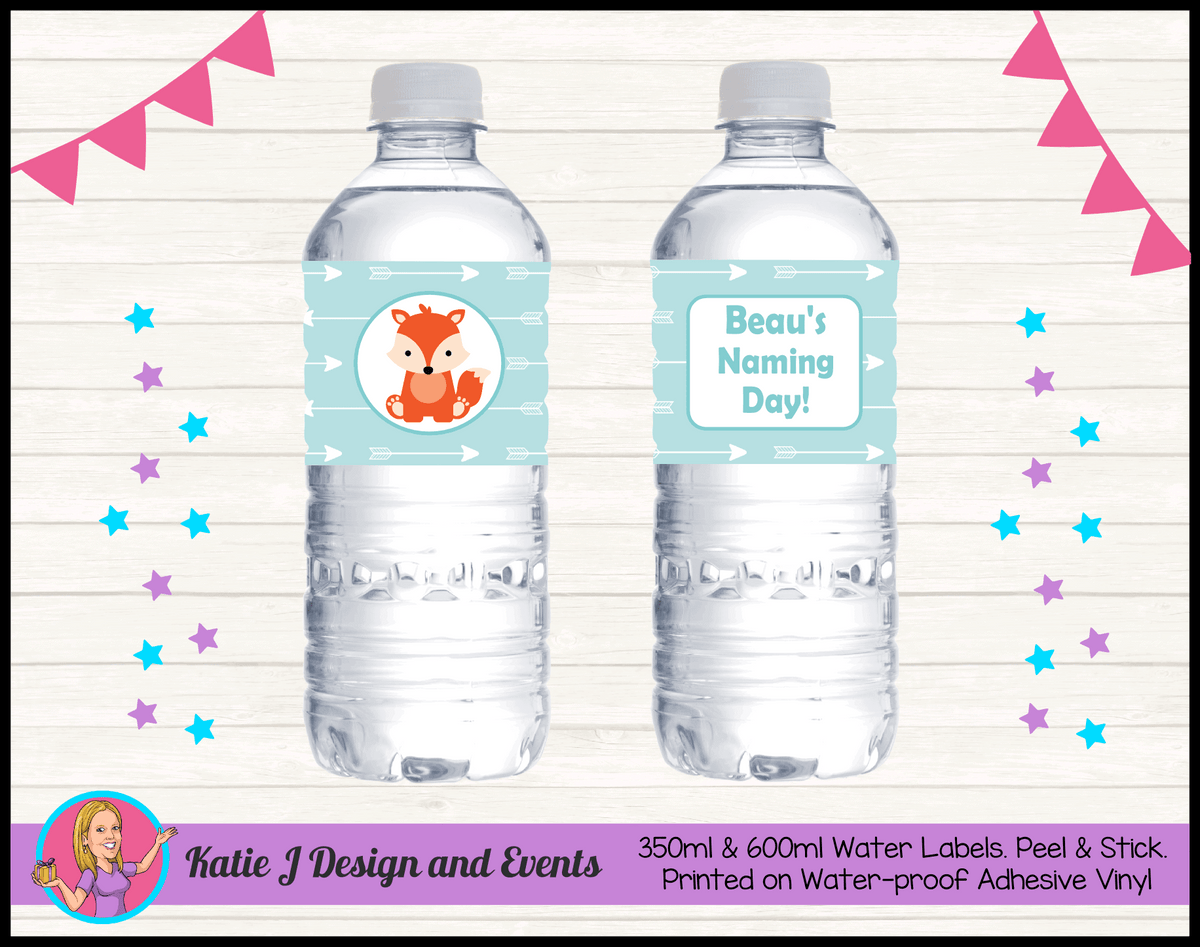 Personalised Tribal Fox Naming Day Water Bottle Labels