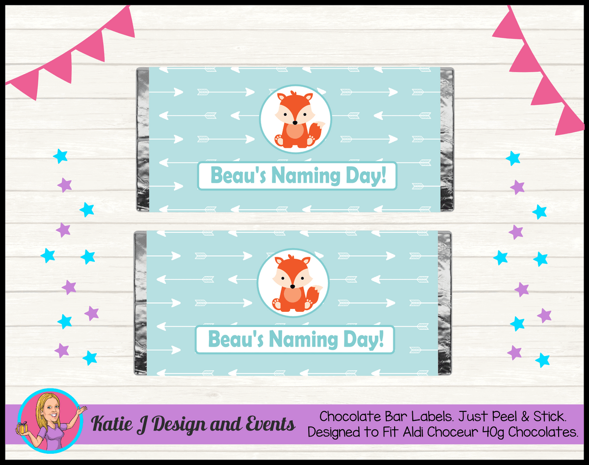 Personalised Tribal Fox Naming Day Chocolate Labels Wrappers