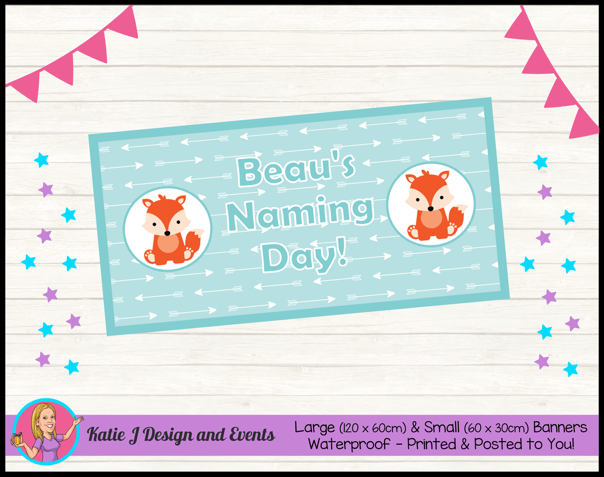 Personalised Tribal Fox Naming Day Banner