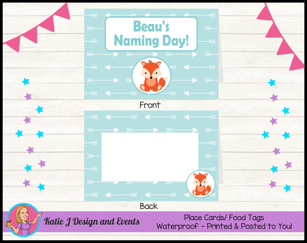 Personalised Tribal Fox Naming Day Place Cards