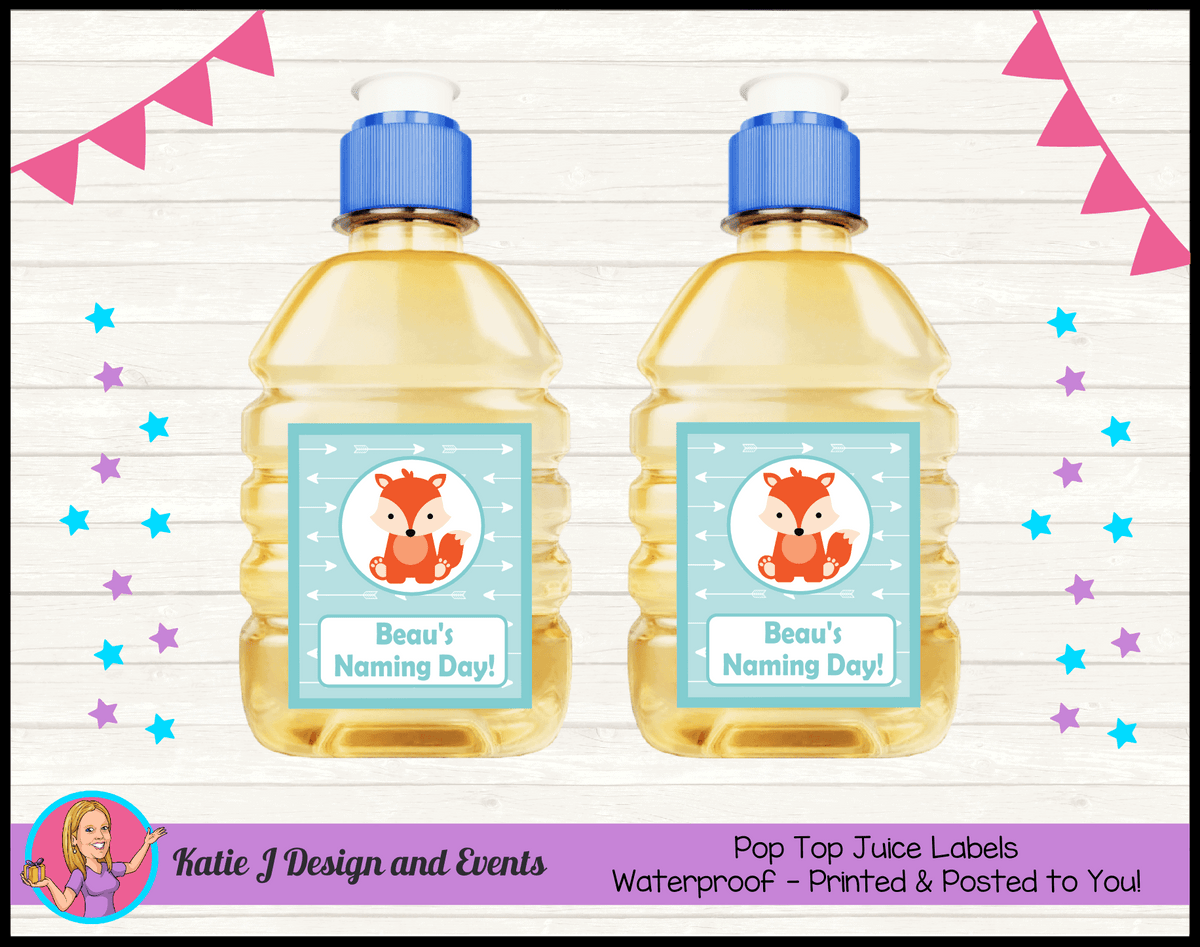 Personalised Tribal Fox Naming Day Pop Top Juice Labels